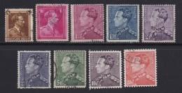 BELGIUM, 1936, Used Stamp(s), Leopold III,  MI 423-431,  #10314, Complete - 1936-1957 Open Collar