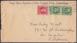 1917-H-325 CUBA REPUBLICA. 1917. PATRIOTAS. SOBRE ILUSTRADO DEL HOTEL PLAZA. FECHADO EN 1935. - Cuba