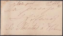 1860-BK-5 CUBA ESPAÑA SPAIN. TOKEN. CIRCA 1860 TARJETA DE PRESENTACION CONVERTIDA EN VALE POR UN PASAJE A NUEVITAS RARE - Cuba