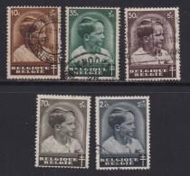 BELGIUM, 1936, Used Stamp(s), TBC,  MI 434=441,  #10315, 5 Values Only - 1936-1951 Poortman