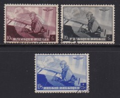 BELGIUM, 1937, Used Stamp(s), Leopold III As A Pilot,  MI 466=470,  #10318,  3 Values Only - 1936-1951 Poortman