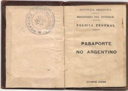 ARGENTINA - Rare!! 1951 PASSPORT - PASSEPORT  Issued In MONTEVIDEO For A NO Citizen Of  ARGENTINA - Man Born In Germany - Documentos Históricos