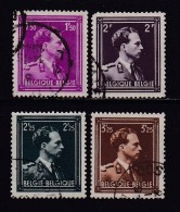 BELGIUM, 1943, Used Stamp(s),  Leopold III,  MI 636=641,  #10331, 4 Values Only - 1936-1951 Poortman