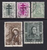 BELGIUM, 1948, Used Stamp(s), Various,   MI 830=846,  #10347, 5 Values Only - 1936-1951 Poortman