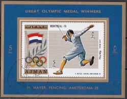 1211 Ajman 1971 Helene Mayer Oro Olimpiadi Amsterdam '28 Scherma Fioretto Imperf. Nuovo Preoblit.