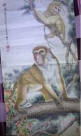 Véritable Peinture Traditionnelle Chinoise Sur Papier De Riz (Painting On Rice Paper) Singes - Art Asiatique