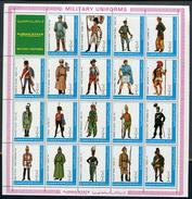 AJMAN 1972 Mi # 1774 A - 1792 A Military Uniforms SHEET Of 19 STAMPS + LABEL MNH - Ajman
