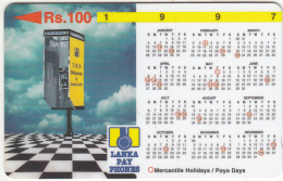 SRI LANKA(GPT) - Calendar 1997/Cardphone, CN : 31SRLB(normal 0), Used - Sri Lanka (Ceylon)