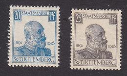 Wurttemberg, Scott #O140-O141, Mint Hinged, King Wilhelm I, Issued 1916 - Wurttemberg