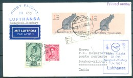 1971 , TAILANDIA , PRIMER VUELO DE LUFTHANSA BANGKOK - BOMBAY , DIVERSAS MARCAS - Tailandia