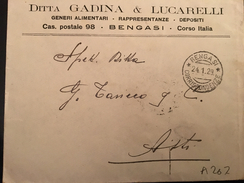 BUSTA POSTALE BENGASI X ASTI-24-1-1929-DITTA GADINA& LUCARELLI-GENERI ALIMENTARI--CENT.50-LIBIA - Libia