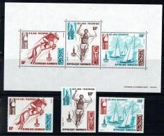 1979  Année Pré-olympique Jeux De Moscou; équitation, Saut En Longueur, Voile  Timbres Et Bloc-feuillet ** - Gabon (1960-...)
