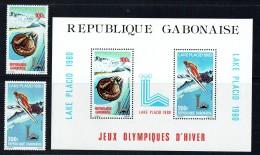1980  Jeux Olympiques D'hiver Lake Placid : Bobsled, Saut à Ski  Timbres Et   Bloc-feuillet ** - Gabon (1960-...)