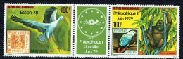 1979  Philexafrique Et Essen '78  Cigogne, Gorille, Timbres Sur Timbres  Bande De 2 + Vignette ** - Gabon (1960-...)