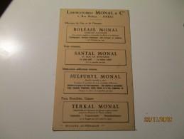 OLD ADVERTISEMENT WERBUNG  MEDICINE , SULFURYL TERKAL SANTAL  MONAL PARIS  ,0 - Publicidad