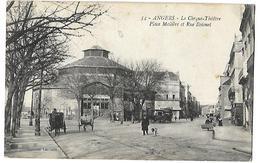 49 Angers Le Cirque Théatre  Place Molièe Et Rue Boisnet  CPA 1916 - Monuments