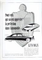 Publicité Voiture Lincoln Cosmopolitan Ford Motor Company + Chocolatier Confisuer Godiva + SA Glucoseries Réunies - Publicités