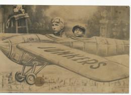 PHOTO MONTAGE, BoyS In Plane Junkers, Garcons Dans Le Plan, - VINTAGE Real PHOTO Ancienne - Non Classés