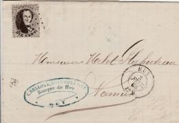 8673) BELGIO BELGIQUE KING LEOPOLD I 10 DIX CENT CENTESIMI VIAGGIATA 1865 DA CINEY A NAMUR BANQUE - 1863-1864 Médaillons (13/16)