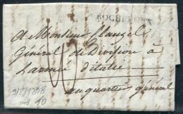 FRANCE - LETTRE DE ROCHEFORT LE 9/2/1808 , DU GAL. DUMOUSTIER AU GAL. CLAUZEL DE L´ARMÉE D´ITALIE - TB - Postmark Collection (Covers)