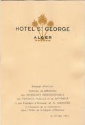 Menu De L'hôtel Saint-George, Alger, Banquet Offert Au Président Forestier, 1951, Légion D'Honneur, BTP, Mumm - Menu