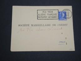 FRANCE / ALGÉRIE - Carte Commerciale De Tiaret Pour Oran En 1959 , Affr. Type Muller De Métropole - A Voir - L 5216 - Algerien (1924-1962)