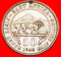 § GREAT BRITAIN: EAST AFRICA ★ 50 CENTS 1948 MINT LUSTER! LOW START ★ NO RESERVE! George VI (1937-1952) - British Colony