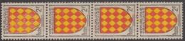 FRANCE - N° 1003 Bande Verticale De 4 Avec Mauvaise Impression Couleur Rouge Sur Le TP Sup. ** ( MNH)