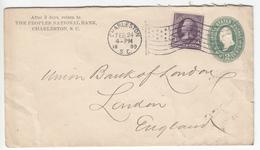 US Postal Stationery Stamped Envelope Travelled 1899 From Charleston, SC To London, England Washington Bb161110
