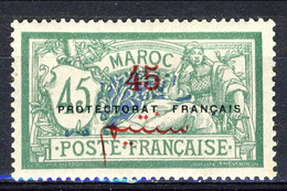 Marocco 1914 - 21 Serie N. 49 C. 45 Su 45 Verde Protectorat Français MLH TB Catalogo € 56 - Marocco (1891-1956)
