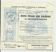 """POSTE NAVALE - BON POUR UN PAQUET En FRANCHISE POSTALE Du BATIMENT BAN """"DUGNY-LE BOURGET"""" - Postmark Collection (Covers)"""