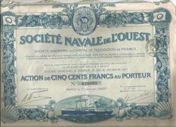 ACTION DE LA SOCIETE NAVALE DE L'OUEST PARIS 1920 (ILLUSTRATION BATEAU) - Navigation