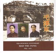 2001 St. Kitts Chairman Mao $2 Sheet Of 3 MNH - Mao Tse-Tung