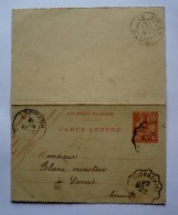 Carte - Lettre 1903  - De  L´HOSPITALET Vers LUNAS (HERAULT )- Cachet LE VIGAN (GARD) -TOURNEMIRE - Entiers Postaux