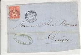 Helvetie Sur Lettre Pour Geneve - Cachet Geneve-sion Du 22.09.1869 - - 1862-1881 Sitted Helvetia (perforates)