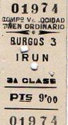 VP6437 - Ticket Simple Pour Chemins De Fer - Ligne De BURGOS à IRUN ( Espagne ) - Chemins De Fer