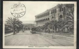 CARTOLINA GENOVA 1925 CIRCONVALLAZIONE A MARE TRANVIA TRAM VIAGGIATA - Genova (Genoa)