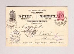 Finnland WIBORG 30.6.1892  Ganzsache Nach Zürich - Finlande