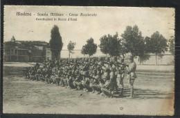 CARTOLINA MODENA 1918 SCUOLA MILITARE CORSO ACCELERATO ESERCITAZIONI IN PIAZZA D'ARMI - Modena