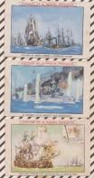 6AI4678 Lot De 3 Cartes HISTOIRE DE LA MARINE FRANCAISE Illus BERTIER 2 SCANS - Schiffe