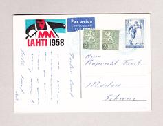 Finnland LAHTI 1958 Blau Postkarte Per Luftpost Nach Meilen Motiv SKI - Finlande