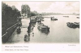 RB 1130 -  Early Undivided Back Postcard - River Thames Wharf & Embankment - Putney London