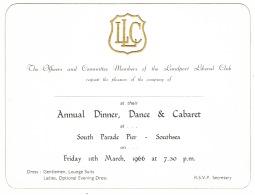 RB 1130 -  1966 Invitation Landport Liberal Club Dinner & Dance - Southsea Portsmouth - Announcements