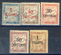 Marocco Tasse 1896 Serie N. 1-5 Valori In Centimos MLH Catalogo € 495 - Postage Due