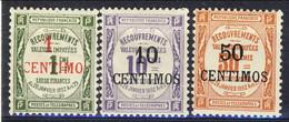 Marocco Tasse 1909 - 10 N. 6-7-8 Valori In Centimos MLH Catalogo € 100 - Postage Due