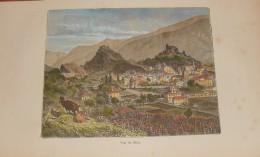 Suisse. Vue De Sion. Gravure Originale.1884.  Aquarellé à La Main. - Estampes & Gravures