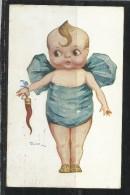 CARTOLINA 1918 NEONATO CON CORNO ROSSO - Humorvolle Karten