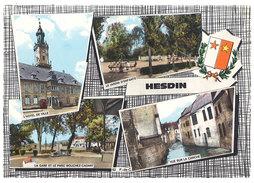 Cpsm Hesdin, Multivues, Gare, Hôtel De Ville, La Canche, Jardin D'enfants - Hesdin