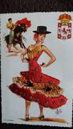 CPSM BRODEE FOLKORE ESPAGNOL CORDOBA TAUREAU CORRIDA MATADOR  BLASON SIGNEE ELSI - Embroidered