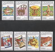 1994 Uganda Crafts Baskets Furniture Complete Set Of 8 And 2 Souvenir Sheets MNH - Uganda (1962-...)